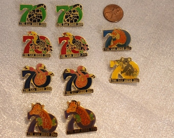 Vintage 80s San Diego Zoo 70th Anniversary Animals Brooch Pin, Pink Flamingo, Giraffe, Snake, Tiger, Tucan, Koala