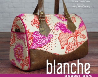 Blanche Barrel Bag Pattern by Swoon Sewing Patterns.  Fabric leather tote, purse, handbag, handbag pattern, tote pattern