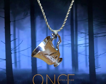 Once Upon A Time Rumpelstiltskin silver / faux leather necklace with chipped tea cup charm. Free UK Post
