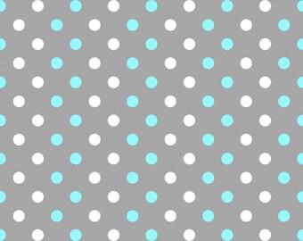Aqua and White Dot on Gray Fabric