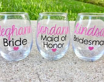 Bridesmaid Wine Glasses/Custom Wine Glasses/Maid of Honor Wine Glass/Bridesmaid Wine Glass/Wedding Wine Glasses/Wedding Wine Glass
