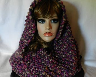 Hand Knitted Cowl Hood Snoodie  V5625
