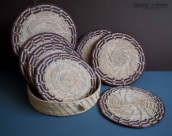 Vintage raffia place mat set with box, 6 rustic bohemian place mats,round box, exotic place set,dinning,natural fibers coiled mat