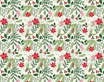 Christmas Fabric by the Yard - Christmas Fabric Bundle - Quilting Fabric- Comfort and Joy - Riley Blake Designs - Comfort Main in Cream