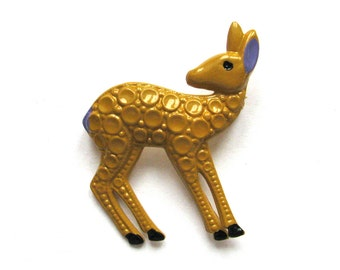 Fawn, Brooch, Badge, Vintage collectible badge, Animal, Pin, Brooch, Made in USSR, 1980s, 80s