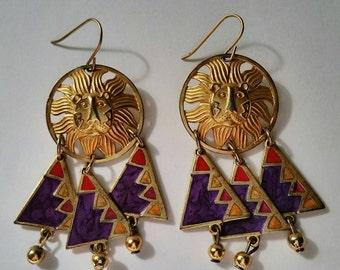 Edgar Berebi Earrings Pierced Vintage Gold Tone Lion Leo Enamel Purple Red Geometric Triangles Dangle Drop