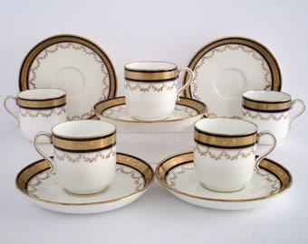 Set of 5, Antique Minton England Bone China Demitasse Cup & Saucer, Vintage Tableware