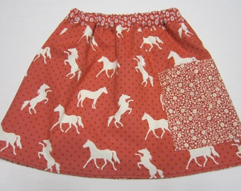 Red Girls Short Reversible Skirt with Horses and Pockets in Sizes 3  and  5