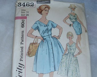 Vintage Simplicity 3462 / Size 14 / Bust 34 / Misses & Womens Blouse / Shorts / Skirt / Late 50s / Early 60s / Excellent Cut Pattern