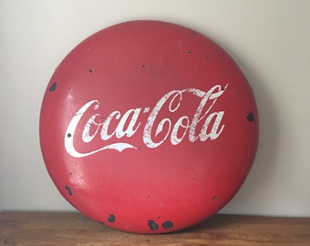 "Vintage 36"" porcelain coca cola button sign"