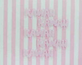 67mm Pastel Pink Sparkle Glitter KAWAII Flatback Resin Decoden Cabochon - set of 5