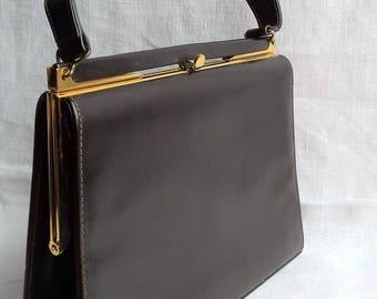 Dark Brown Leather Vintage 1950's/1960's Handbag