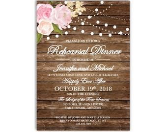 Rehearsal Dinner Invitation Template, DIY Rehearsal Invitation, Cheap Invitation, Rustic Invitation, INSTANT DOWNLOAD Microsoft Word #CL102