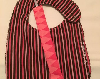 Coordinating Terry Cloth Bib and Pacifier Clip - brown with pink strips