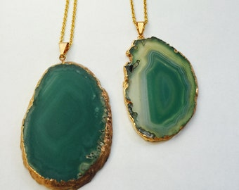 Green Agate Slice Necklace Long Necklace Layering Necklace Natural Stone Bohemian Style Druzy Pendant Statement Piece 24K Gold Plated
