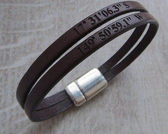 Personalised Double Strap Leather Bracelet