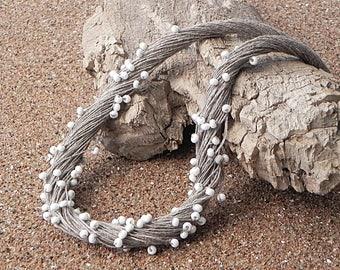 Linen Cord Necklace Linen Fiber Necklace Linen Necklace Natural Linen Minimalist Jewelry Beach Jewelry Eco Style Jewelry Grey Necklace