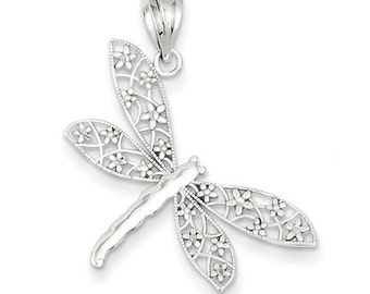 14K White Gold Diamond Cut Dragonfly Pendant Charm P7373