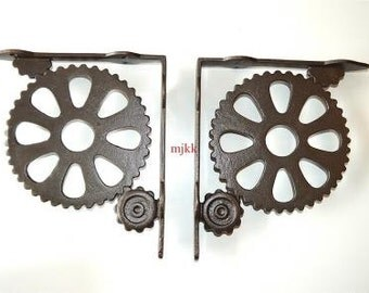 Pair of large industrial style machine cog shelf brackets AL40