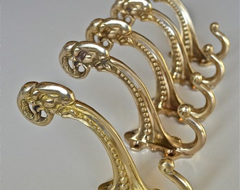 A set of 5 superb large Edwardian style solid brass ram head coat hook coathooks AL77