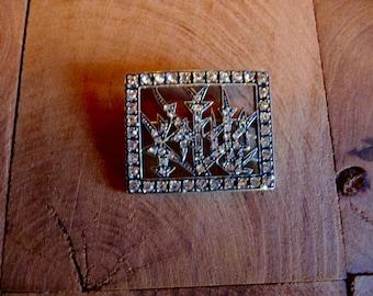 Vintage Sterling Silver Rhinestone~Signed MMA/ FBS Metropolitan Museum of Art Brooch~Deco Design Pin