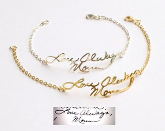 Handwriting Bracelet • Handwritten Bracelet • Signature Bracelet • Memorial Gift in Silver • Handwriting Jewelry - CHB01
