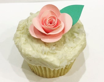 Pink Rose Cupcake Toothpicks (set of 18)