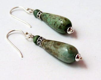 AfricanTurquoise tear drop earrings /silver tear drop earrings /turquoise and silver earrings / drop earrings /aqua tear drop/green earrings