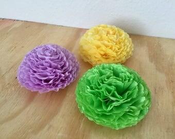 Tissue Paper Flower Mums - Set of 12 - Light Green, Purple, Yellow/Lt. Yellow