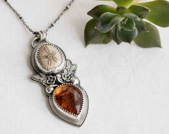 Sand Dollar Necklace, Baltic Amber and Fossilized Sand Dollar Necklace, Sea Biscuit Fossil, Sterling Silver Amber Artisan Necklace