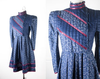 Gunne Sax Dress and Quilted Vest, Navy Blue Calico Print 70s Dress, Prarie Dress, Peasant Dress, Boho Dress, Hippie Dress, Bohemian Clothing