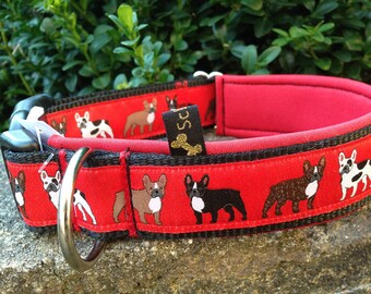 Neoprene collar red black Frenchy French Bulldog