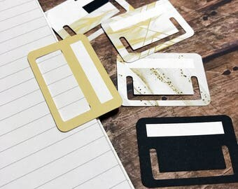 Tuck Tabs - Planner Tabs - Removable Planner Tabs. Set of 15. Gilded Marble