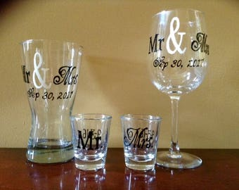 Mr. & Mrs. Wedding Gift Set - Wedding Wine Glass - Wedding Shot Glasses - Wedding Pilsner Glass