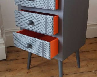 Upcycled Vintage 60's chest of drawers/ bedside unit original splayed legs and ball handles