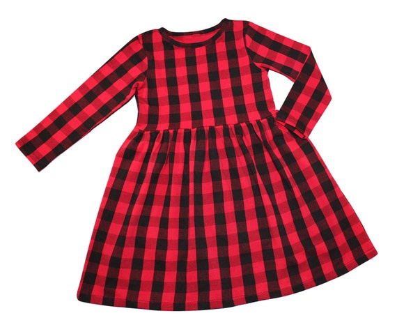 Girls Red Buffalo Plaid Dress Girls Dress Baby Dress