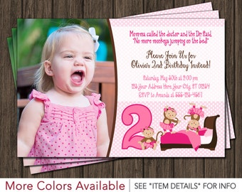 Monkey Birthday Invitation - 3 Little Monkeys Jumping on the Bed Invitation - Monkey Tutu Birthday Invitations