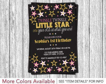 Twinkle Twinkle Little Star Birthday Invitation - Pink, Black, and Gold First Birthday Invitations