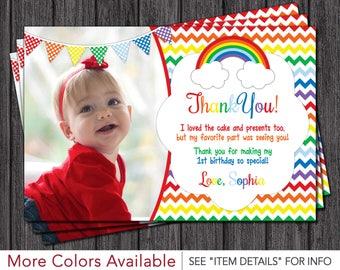 Rainbow Thank You Card - Rainbow Birthday Thank You Cards - First Birthday Thank You Card