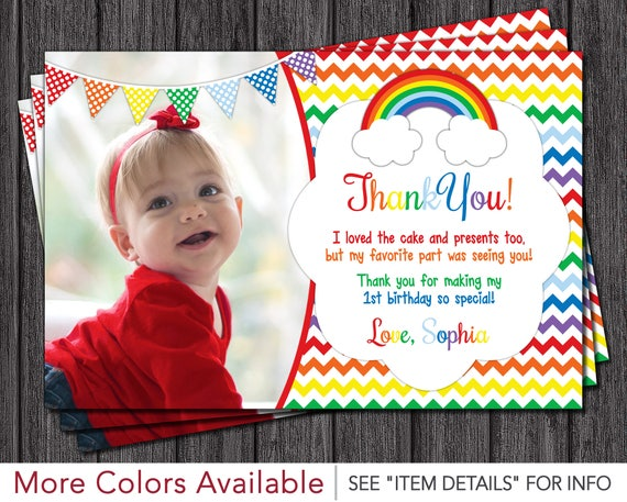 Rainbow Thank You Card   Rainbow Birthday Thank You Cards   First