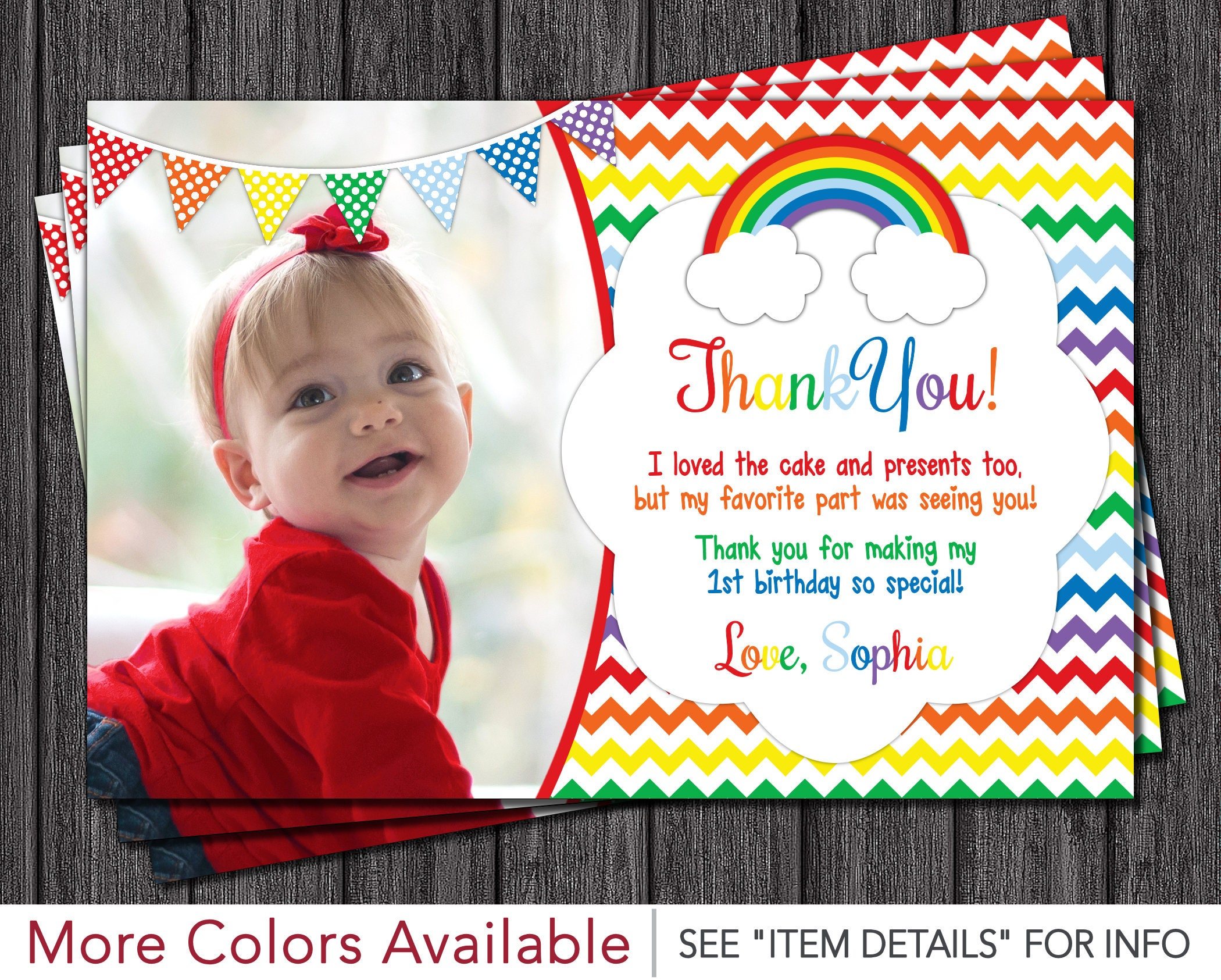 Rainbow Thank You Card Rainbow Birthday Thank You Cards