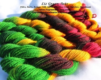 "Liz Green Arts Hand Dyed ""Lilly"" 12ply Bulky Yarn ~ Alpaca Wool Blend Bulky Wool Craft Supplies Knitting Crochet Weaving Chunky Embroidery"