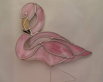 Stained Glass Pink Flamingo Suncatcher - Pink Flamingo Suncatcher - Glass Flamingo