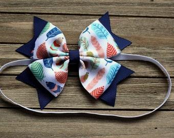 Feather Navy Baby headband , feather navy headband , feather Navy hair bow , feather newborn headband, feather navy bow headband