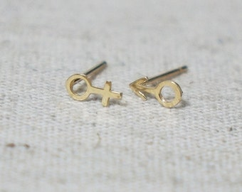 10K Gold Tiny male female symbol stud earrings, solid Gold, real Gold - Tg025