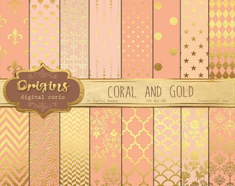 Coral and Gold Digital Paper - Pink and Gold, Peach Digital Paper, Salmon Gold Scrapbook Paper Pack Instant Download Backgrounds