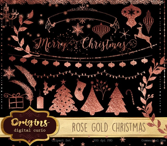 Rose Gold Foil Christmas Clipart Clip Art Ornaments String Lights Snowflakes Trees Png Digital Instant Download Graphics From DigitalCurio