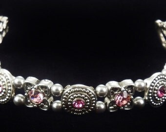 Light Rose Crystal Bracelet with Swarovski Crystals and Magnetic Clasp