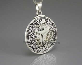 Seal Pentacle of Saturn Talisman Amulet of King Solomon with chain. Option Instructions Activation Spell
