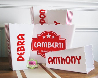 Personalized popcorn box set for family movie night, Custom popcorn tubs